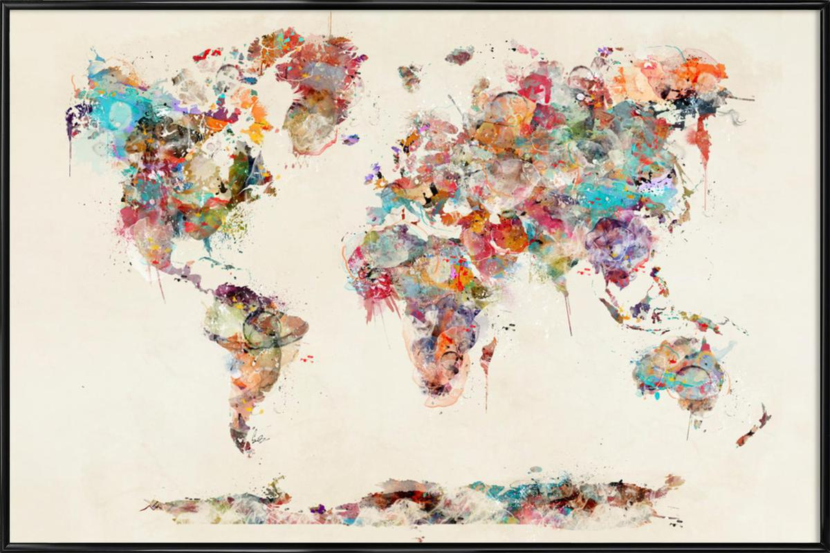 World map watercolor as poster in standard frame juniqe home wall art posters in standard frames gumiabroncs Choice Image