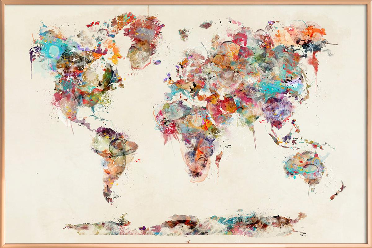 World map watercolor as poster in aluminium frame juniqe home wall art posters in aluminium frames gumiabroncs Images
