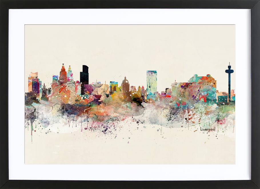 Liverpool as Poster in Wooden Frame by Brian Buckley | JUNIQE