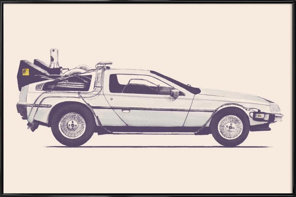 Delorean - Back to the Future as Poster in Standard Frame | JUNIQE