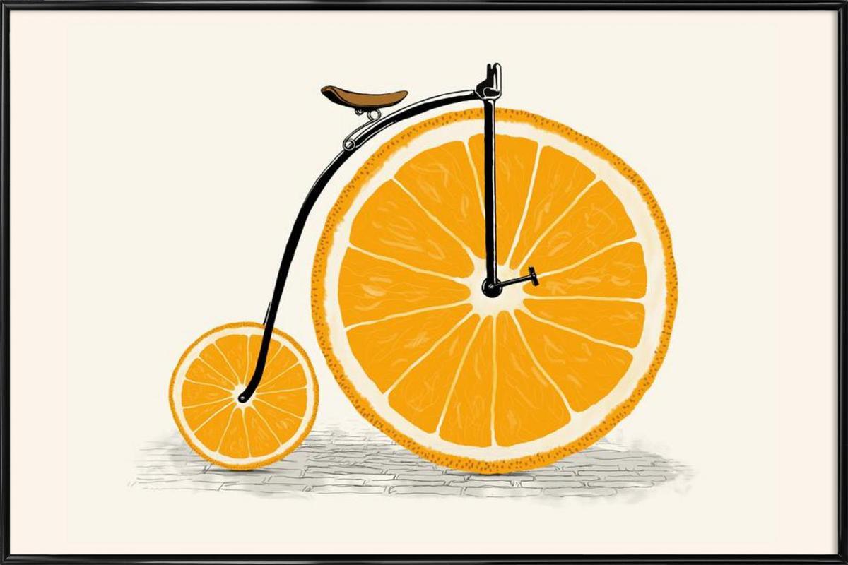 Orange Wheels as Poster in Standard Frame by Florent Bodart   JUNIQE