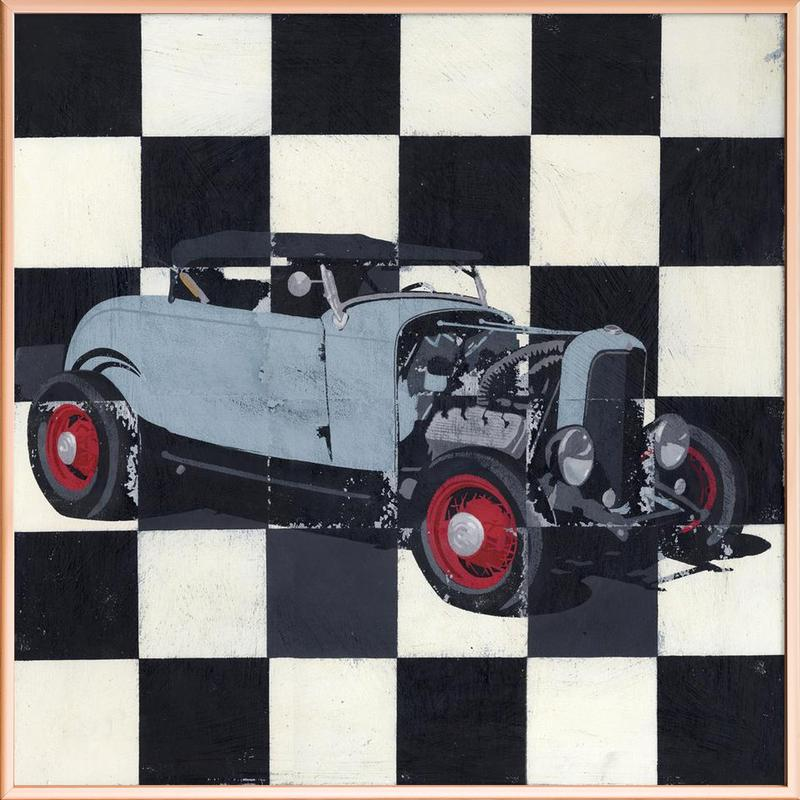 Hot Rod as Poster in Aluminium Frame by Andy Bridge | JUNIQE