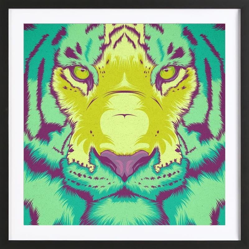 Tiger Alt als Poster im Holzrahmen von Cranio Dsgn | JUNIQE