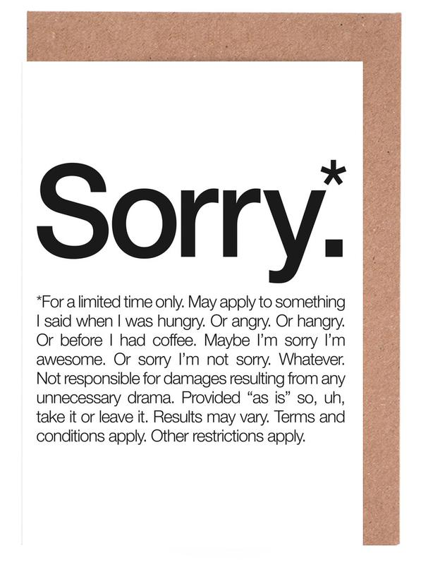 Sorry Black As Greeting Card Set By Words Brand Juniqe