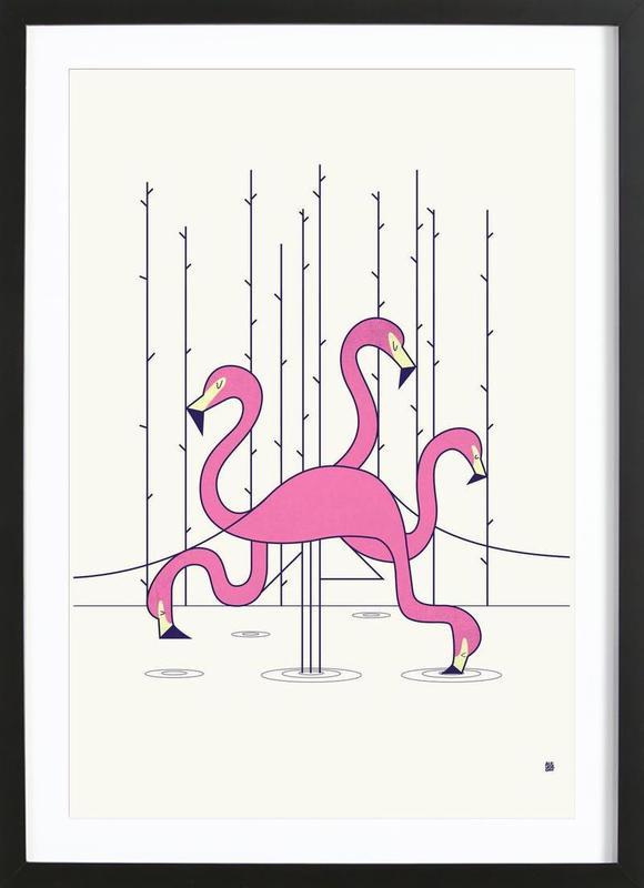flamingo als poster im holzrahmen von ale giorgini juniqe. Black Bedroom Furniture Sets. Home Design Ideas