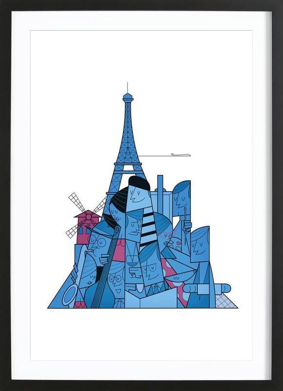 Paris als poster in houten lijst door ale giorgini juniqe - Decoratie themakamer paris ...