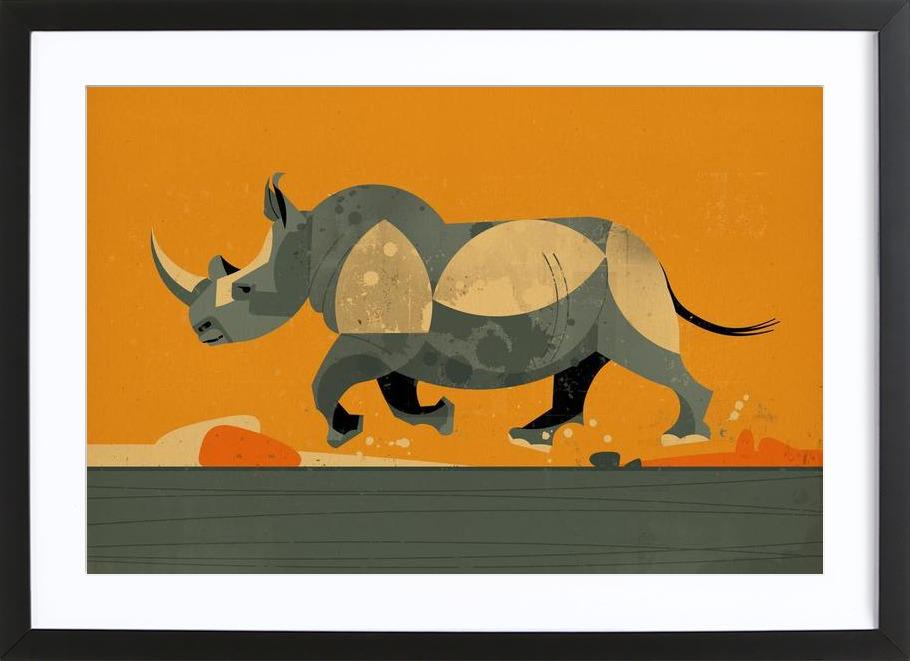 Rhino as Poster in Wooden Frame by Dieter Braun | JUNIQE
