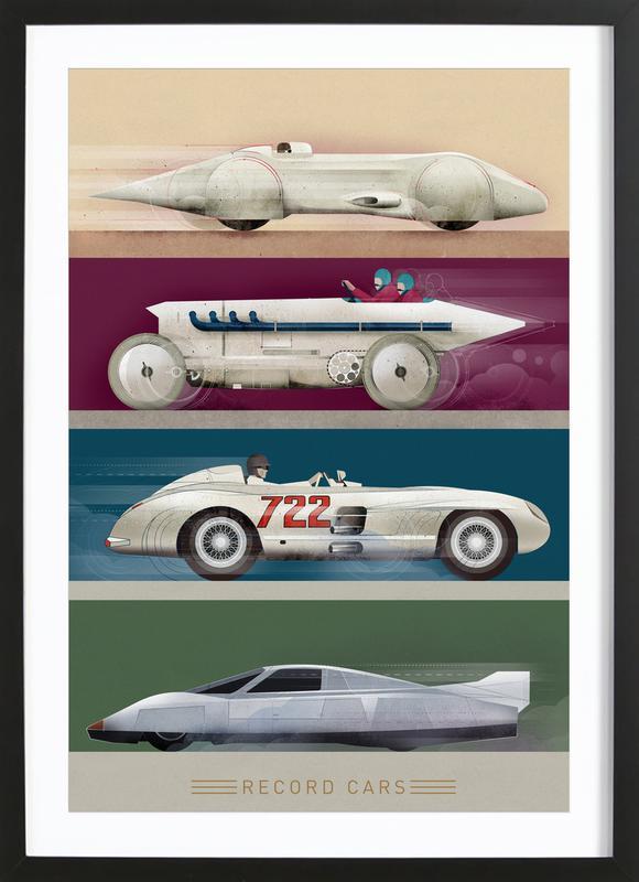 Record Cars En Affiche Sous Cadre En Bois Par Dieter Braun Juniqe
