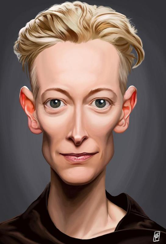 tilda swinton as aluminium print by rob snow