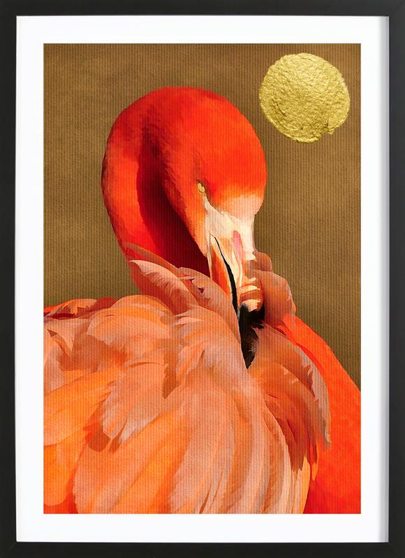 flamingo with golden sun als poster im holzrahmen juniqe. Black Bedroom Furniture Sets. Home Design Ideas