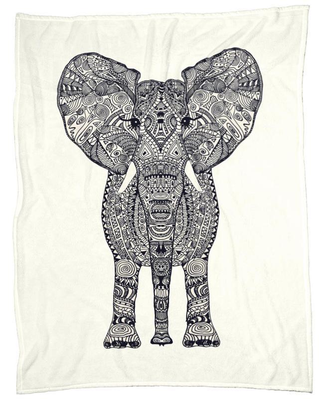 Aztec Elephant als Fleecedecke von Monika Strigel | JUNIQE