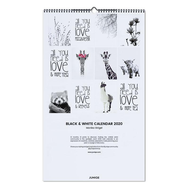 Calendario Rosa 2020.Black White Calendar 2020 Monika Strigel Wall Calendar