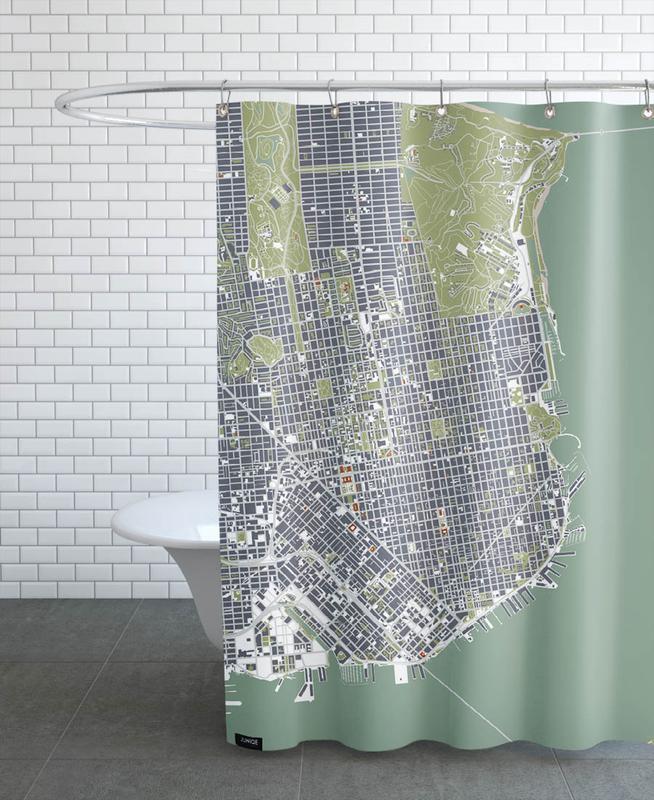 san francisco engraving als duschvorhang von planos urbanos juniqe. Black Bedroom Furniture Sets. Home Design Ideas
