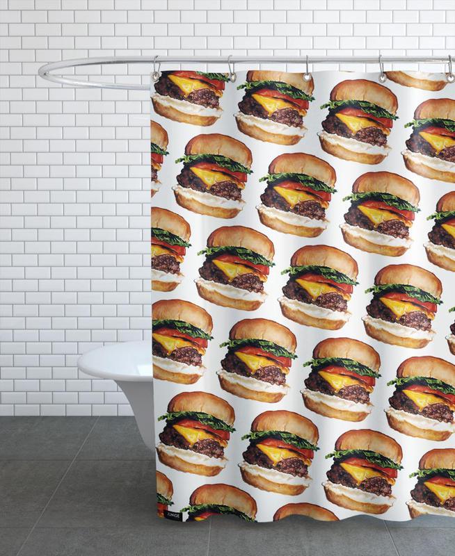 cheeseburger pattern als duschvorhang von kelly gilleran juniqe ch. Black Bedroom Furniture Sets. Home Design Ideas