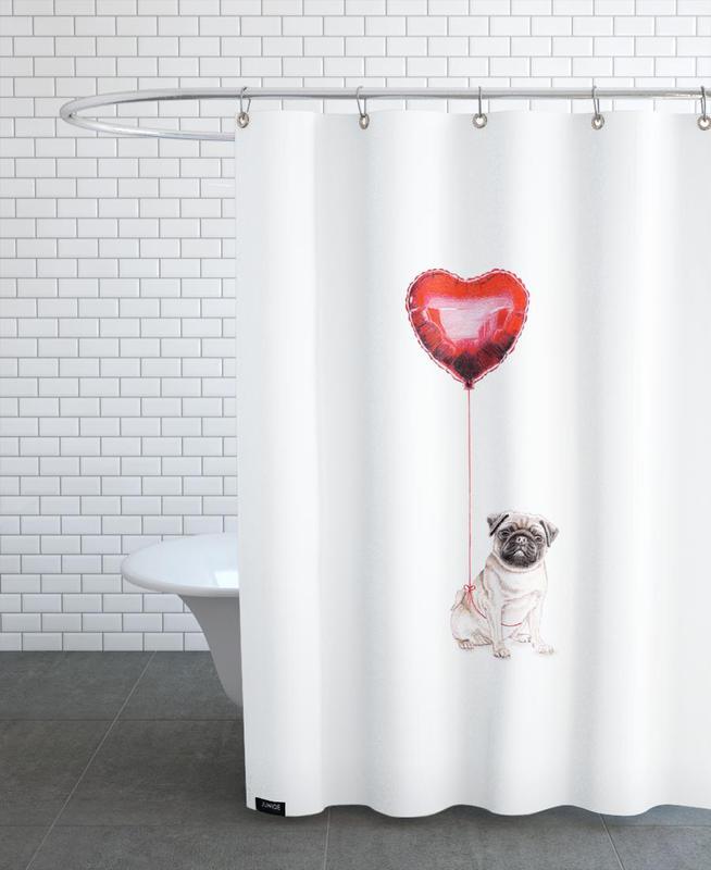 pug balloon als duschvorhang von janine sommer juniqe ch. Black Bedroom Furniture Sets. Home Design Ideas