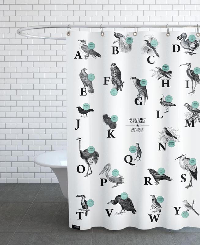 Alphabet Of Birds Animal ABC As Shower Curtain