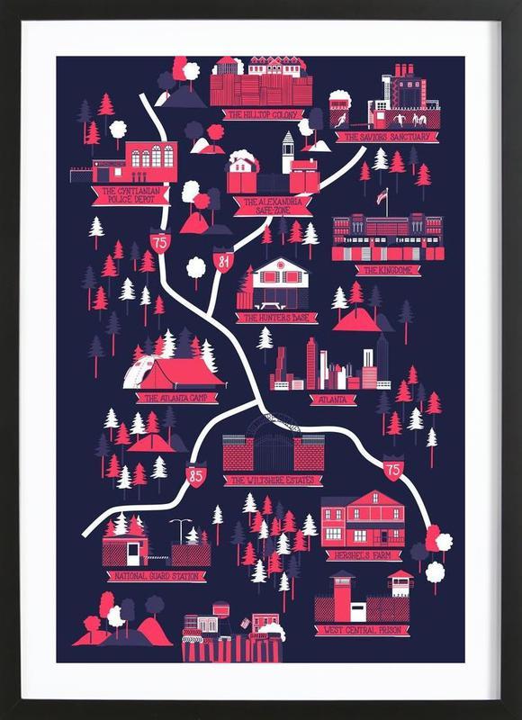 the walking dead map als poster im holzrahmen juniqe. Black Bedroom Furniture Sets. Home Design Ideas