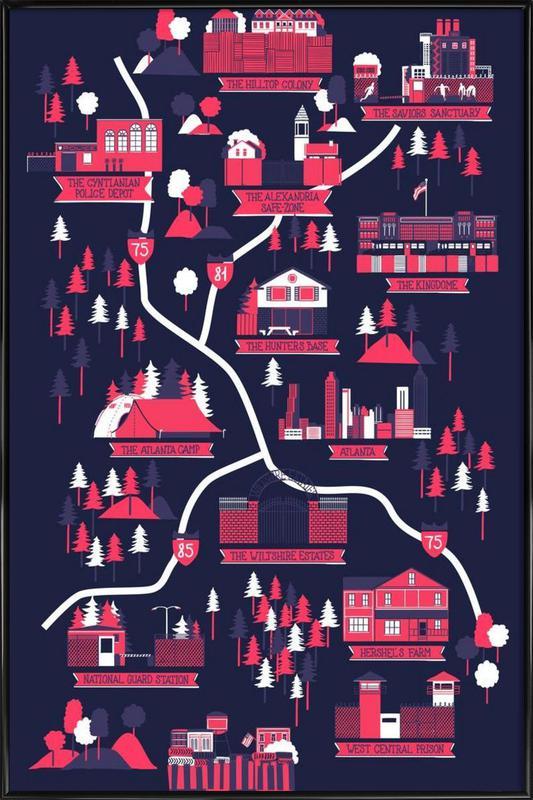 The Walking Dead Map As Poster In Standard Frame Juniqe