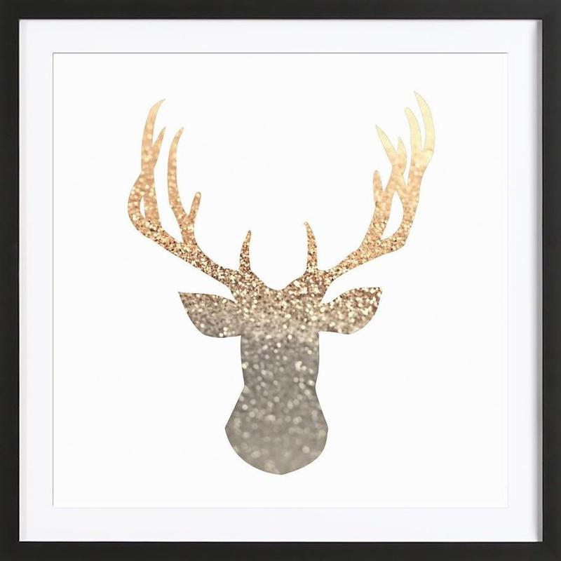 Gold Deer as Poster in Wooden Frame by Monika Strigel | JUNIQE UK