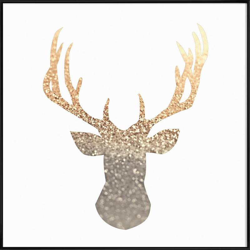 Gold Deer as Poster in Standard Frame by Monika Strigel | JUNIQE