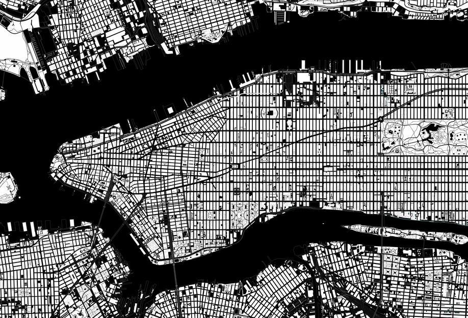 new york black white als acrylglasbild von planos urbanos juniqe. Black Bedroom Furniture Sets. Home Design Ideas