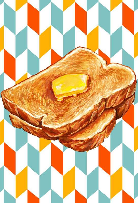 buttered toast als acrylglasbild von kelly gilleran juniqe. Black Bedroom Furniture Sets. Home Design Ideas
