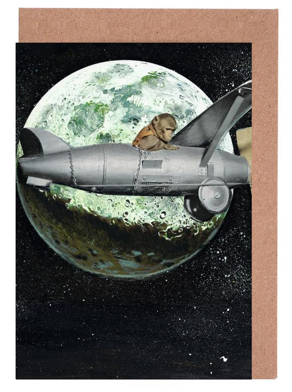 Space monkey as greeting card set by janine sommer juniqe m4hsunfo