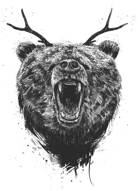 angry bear als canvas print door bal225zs solti juniqe