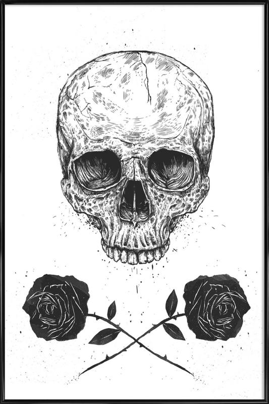Skull N\' Roses as Poster in Standard Frame by Balázs Solti | JUNIQE