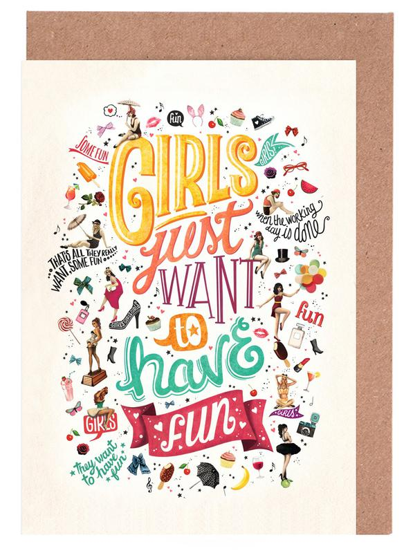 Girls just want to have fun draw me a song project as greeting girls just want to have fun draw me a song project as greeting card set juniqe m4hsunfo