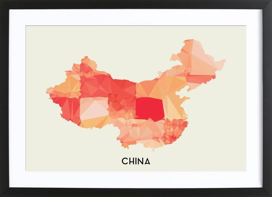 China Map Poster.China As Poster In Wooden Frame By In Full Color Juniqe