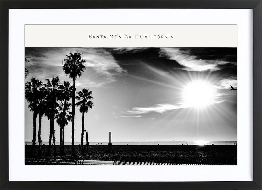 Santa Monica No. 1 B&W as Poster in Wooden Frame | JUNIQE