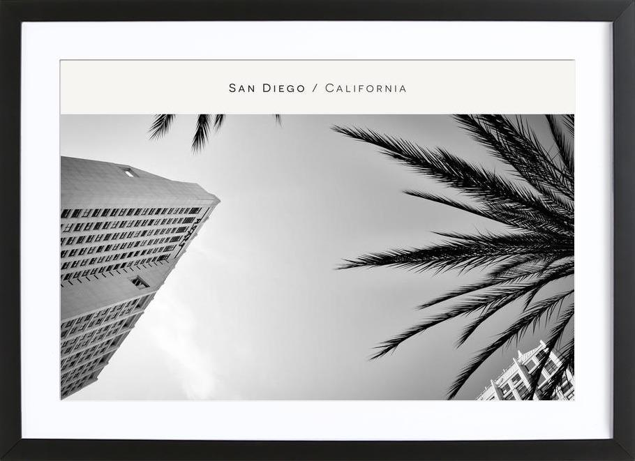 San Diego B&W as Poster in Wooden Frame by In Full Color   JUNIQE