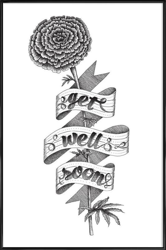 get well soon hand lettering as poster in standard frame juniqe