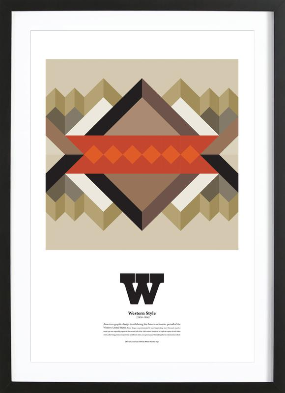 W - Western Style as Poster in Wooden Frame by The True Type | JUNIQE