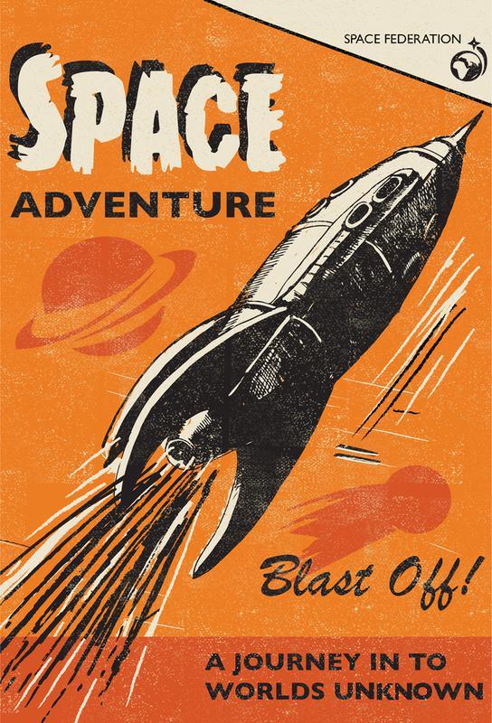 space adventure als alu dibond druck von rocket68 juniqe. Black Bedroom Furniture Sets. Home Design Ideas