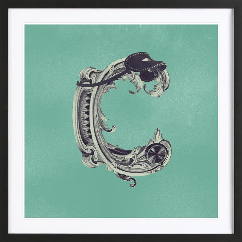 Steampunk Alphabet Letter C as Poster in Wooden Frame | JUNIQE UK