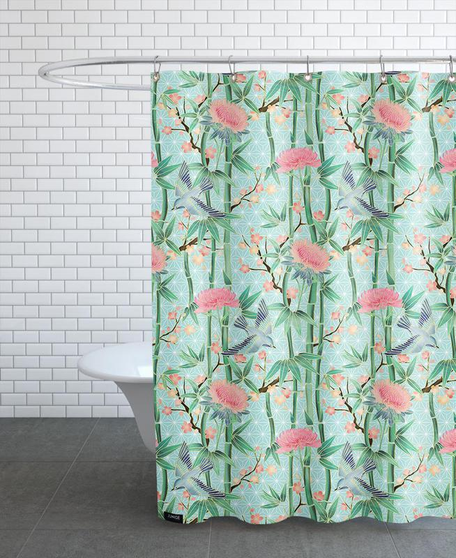 Bamboo Birds And Blossom Mint Shower Curtain