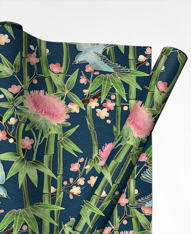 bamboo birds and blossom teal as gift wrap juniqe