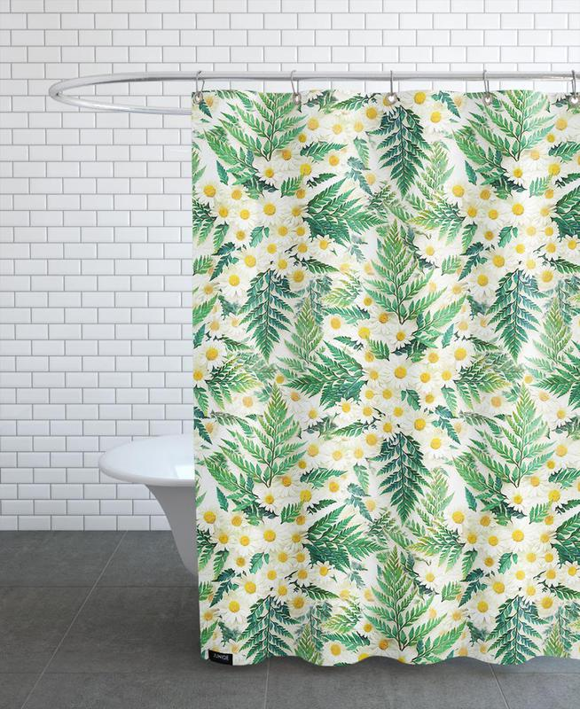Textured Vintage Daisy And Fern Shower Curtain