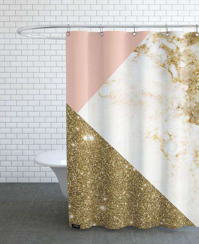 pink and gold marble collage als duschvorhang von cafelab juniqe. Black Bedroom Furniture Sets. Home Design Ideas