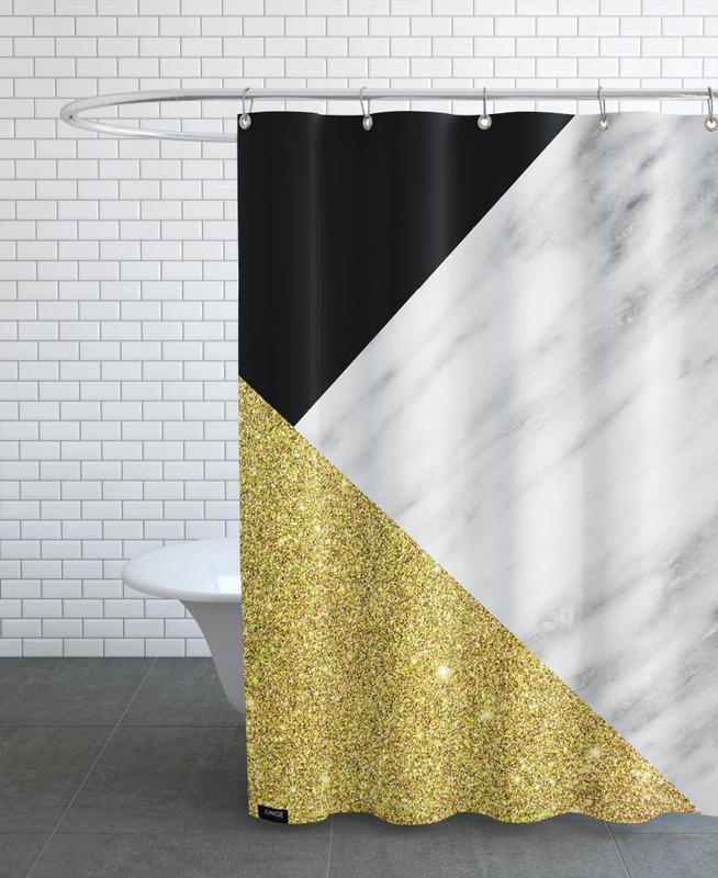 Gold Marble Collage As Shower Curtain By Cafelab