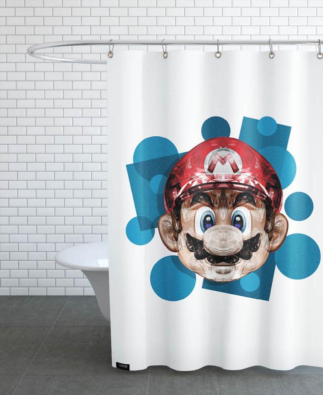 super plombier als duschvorhang von rubiant juniqe. Black Bedroom Furniture Sets. Home Design Ideas