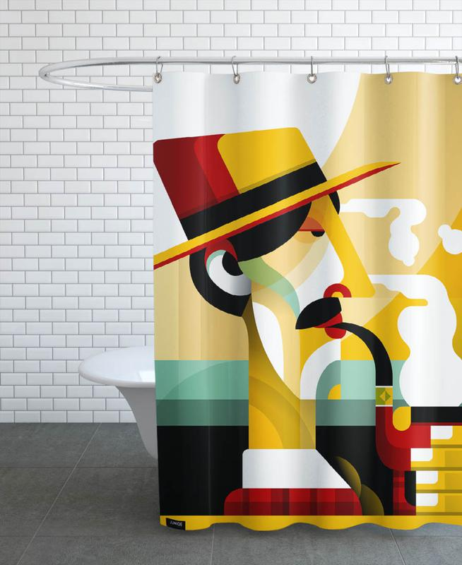 A man with a pipe as Shower Curtain by Oscar Odd Diodoro | JUNIQE