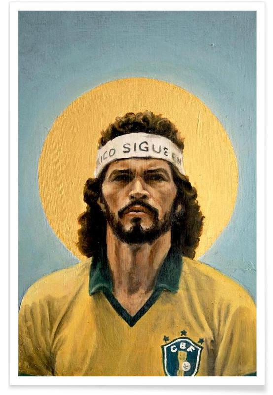 Football Icon Scrates 1986 As Premium Poster JUNIQE