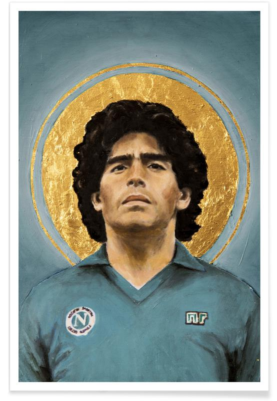 Living Room Line Drawing: Football Icon Diego Maradona As Premium Poster By David