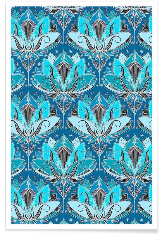 Art deco teal lotus pattern als premium poster juniqe - Deco eigentijds ...
