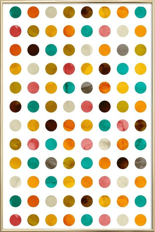 Autumnal Polka Dot as Poster in Aluminium Frame by cafelab | JUNIQE