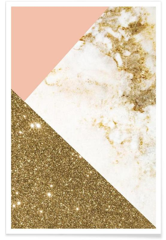 pink and gold marble collage als premium poster von cafelab juniqe. Black Bedroom Furniture Sets. Home Design Ideas