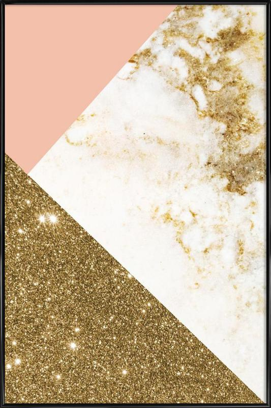 Pink And Gold Marble Collage As Poster In Standard Frame